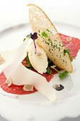 Appetizers - Beef Carpaccio with Parmesan Cheese, Rucola