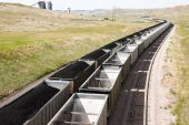 stock photo of railcar  - rail cars loaded with coal being transported from nearby mines to power plants in Wyoming - JPG