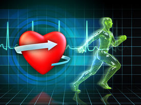stock photo of cardio exercise  - Cardio exercise increases the heart - JPG