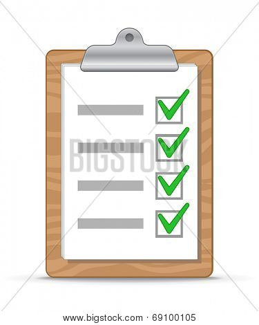 Wooden clipboard with a sheet of paper. To do list. Vector Illustration
