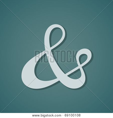 Ampersand symbol with shadow. Vector illustration