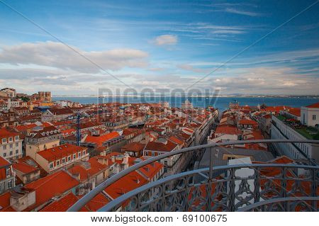 View From The Famous Tower On The Tejo River In Lisbon,portugal