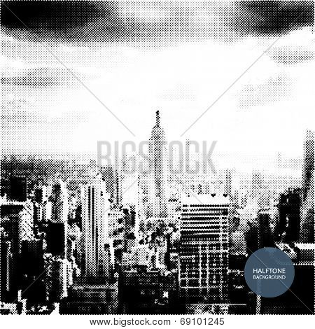 Halftone Background Design - New York Skyline