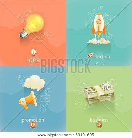 Business concepts, vector set