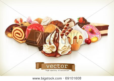 Sweet dessert with chocolate, confectionery vector illustration