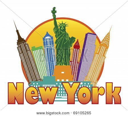 New York City Colorful Skyline In Circle Illustration