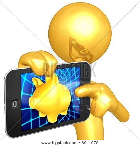 Gold Guy With Touch Screen Banking