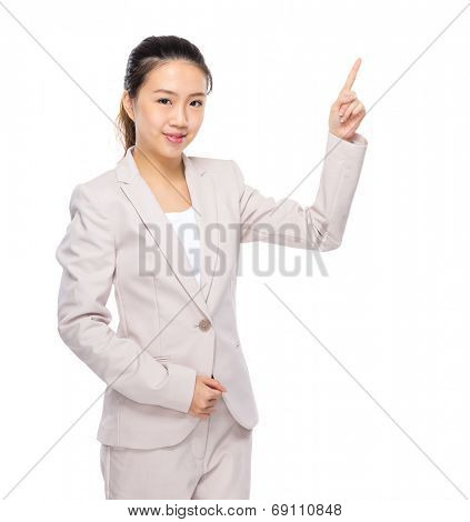 Asian businesswoman finger up isolated