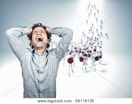 stressed man and ccvt camera robot