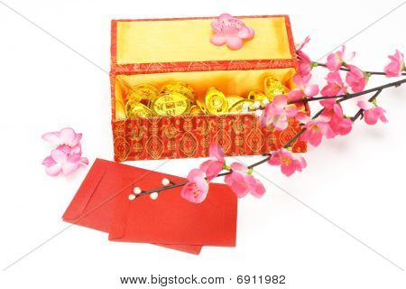 Chinese New Year Gift Box, Red Packets And Ornaments