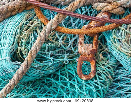 Abstract Background With A Pile Of Fishing Nets