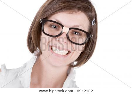 Cute Geeky Female With A Big Cheesy Grin