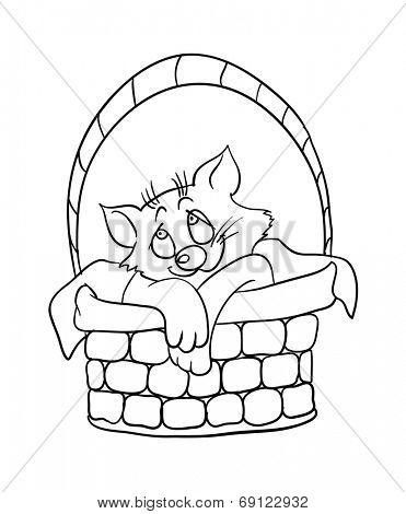 Cartoon kitten in a basket, contour vector illustration