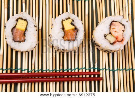 Uramaki Sushi on a bamboo mat