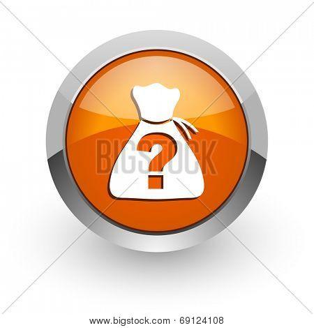 riddle orange glossy web icon