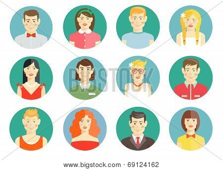 Set of diverse people avatar icons