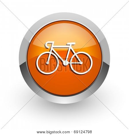 bicycle orange glossy web icon