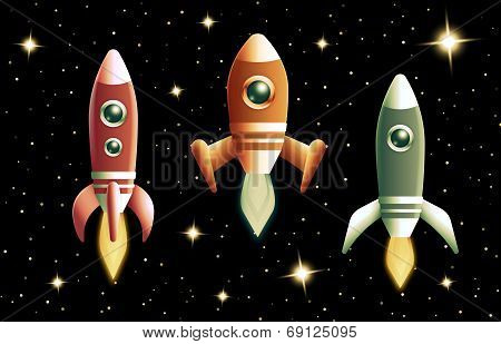 Set of three retro vector rockets
