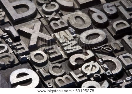 Random Arrangement Of Letterpress Lead Letters