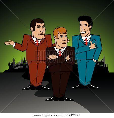 three businessmen discussing a problem