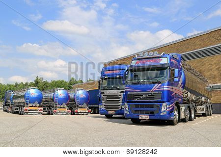 Fleet Of Tanker Trucks On A Yard