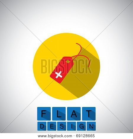 Flat Design Icon Of Tag For Sale & Discount With Plus Sign - Vector Graphic