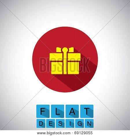Flat Design Icon Of Gift, Bonus Or Reward - Vector Graphic
