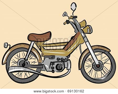 Old color moped