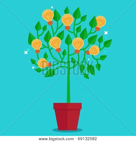 Vector Tree Concept In Flat Style -