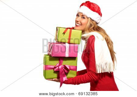 Christmas Santa Hat  Woman Portrait Hold Christmas Gift