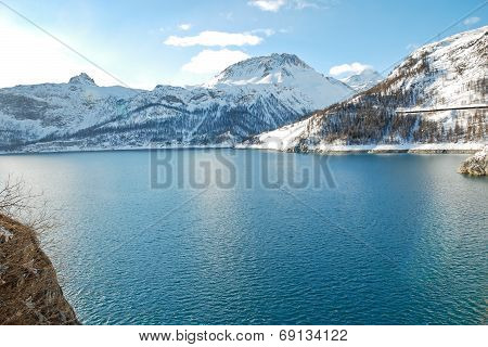 Lake Lac Du Chevril In Winter, France