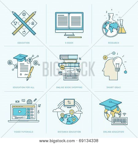 Set of flat line icons for online education