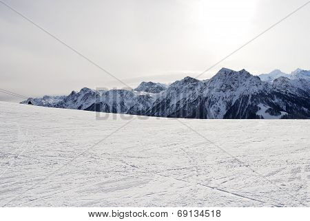 Skiing Zone On Snow Mountain In Dolomites, Italy