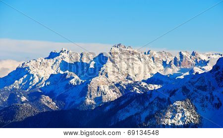 Panorama Of Dolomites Mountain In Dolomites, Italy