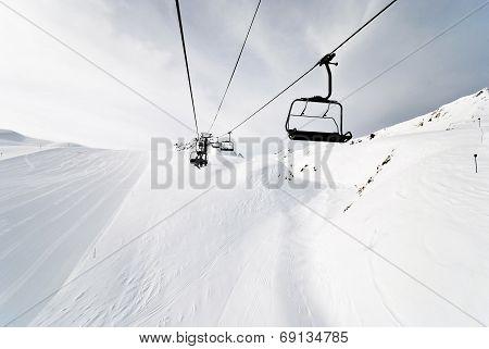 Ski Lift On Mountains In Paradiski Area, France