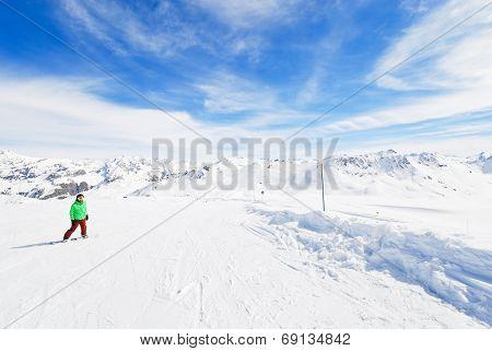 Skiing On Snow Slopes In Paradiski Area, France