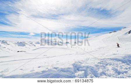 Mountain Skiing On Alps In Paradiski Area, France