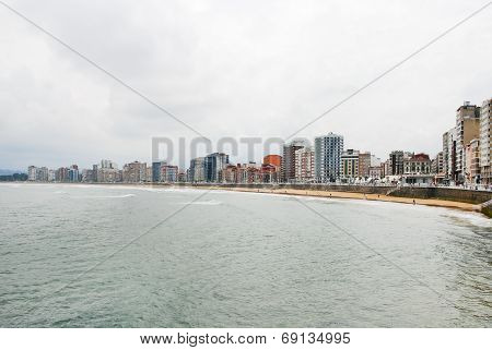 View Of Gijon City In Asturias, Spain