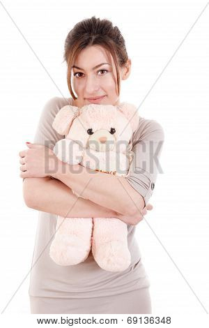 Beautiful Young Woman Holding Teddy Bear