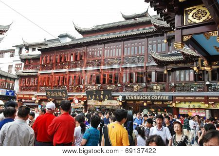 Tourists On Square In Old City Of Shanghai, China