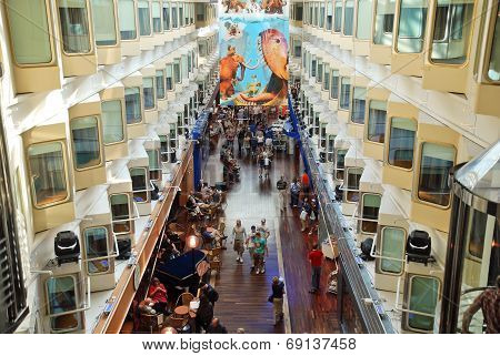 Interior Of Stockholm Tallin Ferry In Baltic Sea