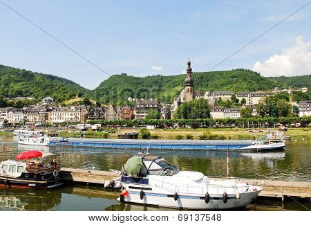 Town Cochem On Moselle River In Germany