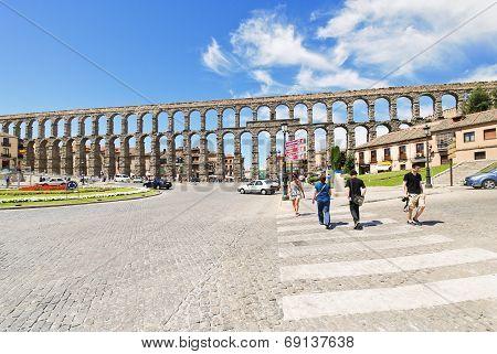 View Of Ancient Roman Aqueduct Of Segovia