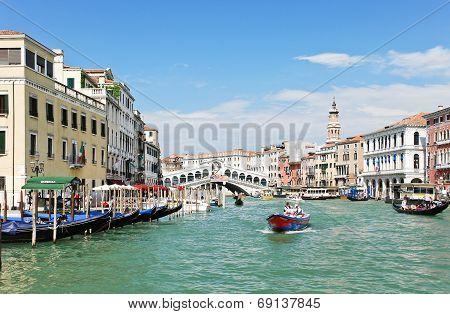 Grand Canal Near Rialto Bridge In Venice
