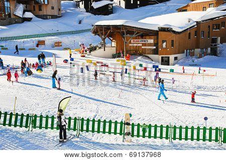 Ski Children Zone In Avoriaz Town In Alps, France