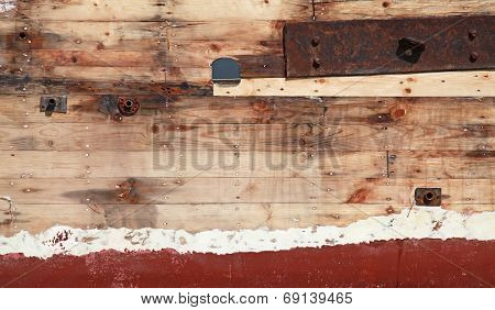 Old Wooden Ship Fragment, Hull Under Renovation, Background Photo Texture