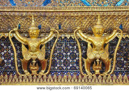 The Garuda And Gold Textured At Wat Phra Kaew
