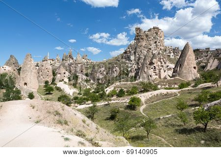 view of Uchisar castle in Cappadocia Turkey
