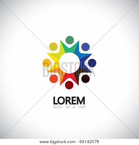 Colorful Abstract People, Children Or Kids Together - Vector Icon.
