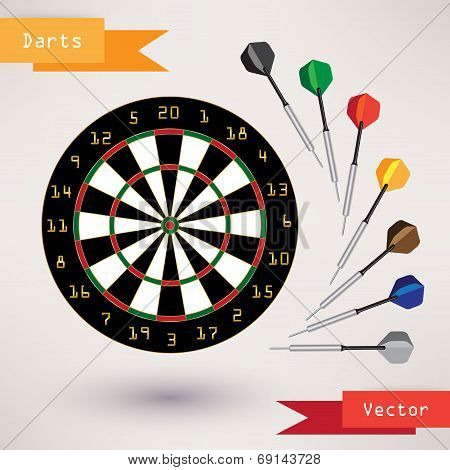Darts Target and darts, vector illustration on white background.
